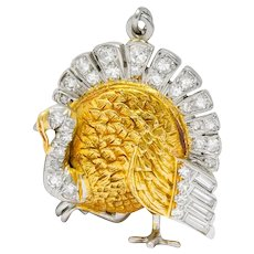 Edwardian 0.38 CTW Diamond 18 Karat Gold Platinum Turkey Charm Pendant