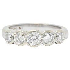 Contemporary 1.15 CTW Diamond 14 Karat White Gold Stackable Ring