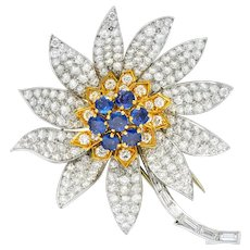 Boucheron Paris 1960's 8.60 CTW Diamond Sapphire Platinum 18 Karat Gold Flower Brooch