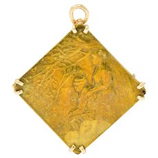 Lalique Art Nouveau 14 Karat Gold Bronze Forest Soldier Repousse Pendant Brooch