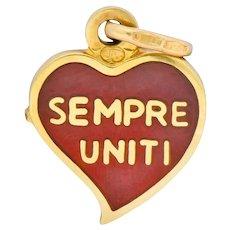 Contemporary Red Enamel 18 Karat Gold Sempre Uniti Heart Charm