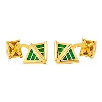 Schlumberger Tiffany & Co. Enamel 18 Karat Gold French Men's Cufflinks