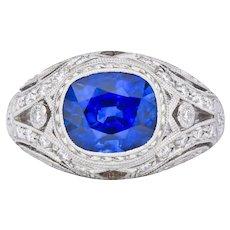 Contemporary 5.13 CTW Royal Blue Sapphire Diamond Platinum Ring GIA