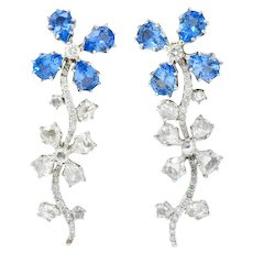 Retro 11.52 CTW Diamond Sapphire Platinum Articulated Flower Earrings