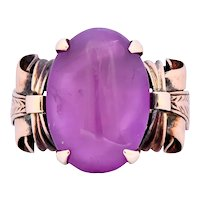 Victorian Natural Ruby 14 Karat Gold Scrolled Dinner Ring GIA