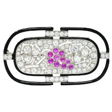 Art Deco 1.80 CTW Diamond Ruby Platinum Grape Cluster Enamel Brooch