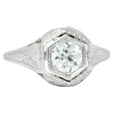 1915 Edwardian 0.63 CTW Diamond Platinum Engagement  Ring
