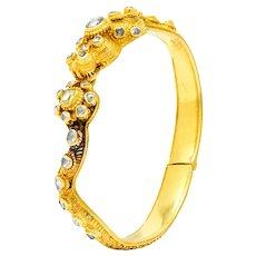 Victorian 2.50 CTW Rose Cut Diamond 18 Karat Gold Dragon Bangle Bracelet