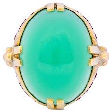 Felger Inc. Art Deco Egyptian Revival Enamel Chrysoprase Ring