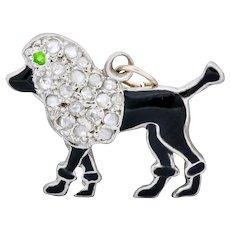 1920's Art Deco Pave Diamond Enamel Platinum Poodle Charm