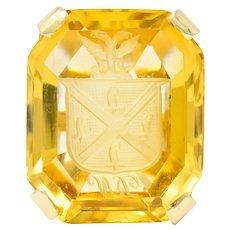 Retro Citrine Intaglio 14 Karat Gold Statement Ring