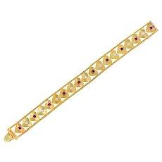 Retro 1.80 CTW Diamond Ruby 14 Karat Gold Heart Bracelet