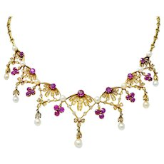 Victorian 7.95 CTW Diamond Ruby Pearl 18 Karat Gold Fringe Necklace