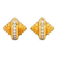 McTeigue 0.45 CTW Diamond 18 Karat Gold Multi Dimensional Earrings