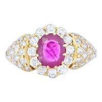 Edwardian 2.11 CTW Ruby Diamond 18 Karat Gold Pave Cluster Ring
