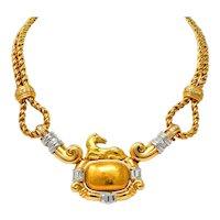 Chaumet 3.00 CTW Diamond 18 Karat Gold Platinum French Horse Statement Necklace