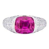 Modernist 7.66 CTW Ceylon Pink Sapphire Diamond Platinum Cocktail Ring