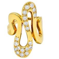 Vintage 0.87 CTW Diamond 18 Karat Gold Modernist Wave Ring