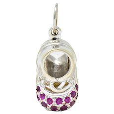 Retro Diamond 0.25 CTW Pink Sapphire 18 Karat Gold Baby Shoe Charm