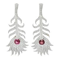 Carrera Y Carrera 3.05 CTW Diamond Tourmaline Peacock Feather Drop Earrings