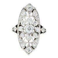 Edwardian 1.10 CTW Diamond Platinum Dinner Navette Ring