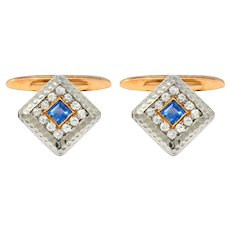 Edwardian 1.30 CTW Diamond Sapphire 14 Karat Gold Platinum Cufflinks