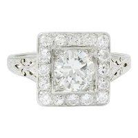 Retro 2.14 CTW Diamond Platinum Cluster Alternative Engagement Ring