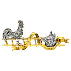 French Victorian 1.75 CTW Rose Cut Diamond 18 Karat Gold Silver Rooster Fox Brooch