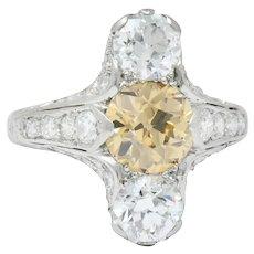 Art Deco 2.53 CTW Fancy Colored European Cut Diamond Platinum Dinner Ring