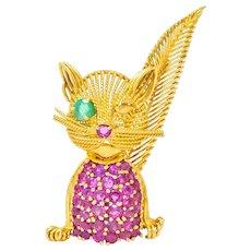 Tiffany & Co. Retro 5.45 CTW Ruby Emerald 18 Karat Yellow Gold Winking Cat Brooch