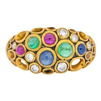 Alex Sepkus Blue Sapphire Emerald Ruby Diamond 18 Karat Gold Cluster Ring