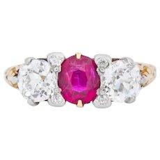 Edwardian 2.48 CTW Burma Ruby Diamond 18 Karat Gold Platinum Three Stone Ring