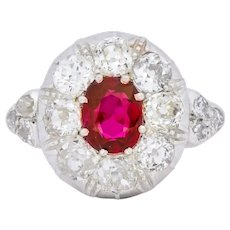 Victorian 2.69 CTW No Heat Ruby Diamond Platinum-Topped 14 Karat Gold Cluster Ring GIA