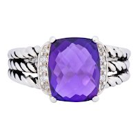 David Yurman Amethyst Diamond Sterling Silver Wheaton Ring