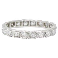 1930's Art Deco 0.40 CTW Diamond Platinum Eternity Band Ring