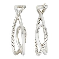 David Yurman Sterling Silver Twisted Cable Hoop Earrings