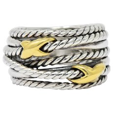 David Yurman Sterling Silver 18 Karat Gold Double X Crossover Ring