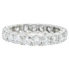 Retro 1.70 CTW Diamond Platinum Eternity Band Ring Circa 1950's