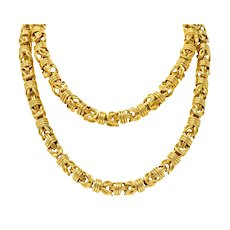 Vintage 1980's Oversized 14 Karat Gold Fancy Woven Chain Necklace