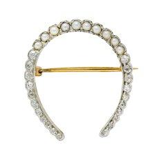 Edwardian Diamond Pearl Platinum-Topped 14 Karat Gold Horseshoe Brooch
