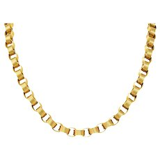 Vintage 1960's 18 Karat Yellow Gold Large Linked Rolo Chain Necklace