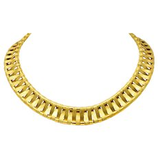 French Cartier 18 Karat Yellow Gold Textured Collar Woven Retro Necklace