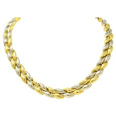 Chimento 18 Karat Two-Tone Gold Italian Puffed Reversible Collar Necklace