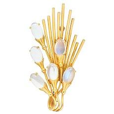 Tiffany & Co. Retro Moonstone 14 Karat Gold Cattail Brooch
