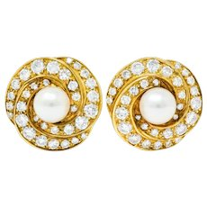 Vintage 2.15 Carats Diamond Pearl 18 Karat Gold Swirl Ear-Clip Earrings