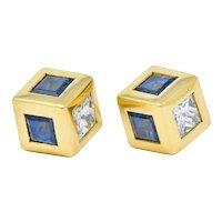 Tiffany & Co. 2.55 CTW Sapphire Diamond 18 Karat Gold Cube Earrings