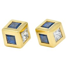 Tiffany & Co. 2.55 CTW Sapphire Diamond 18 Karat Gold Cube Earrings