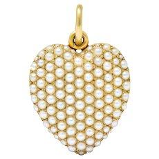 Victorian 14 Karat Gold Seed Pearl Heart Locket Pendant