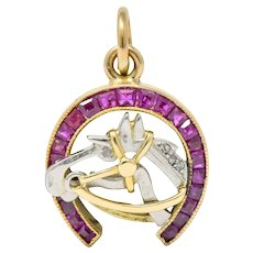 Edwardian 1.03 CTW Ruby Diamond 18 Karat Gold Platinum Horseshoe Horse Charm