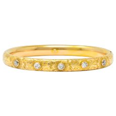Victorian 1.00 CTW Diamond 14 Karat Gold Floral Bangle Bracelet Circa 1900